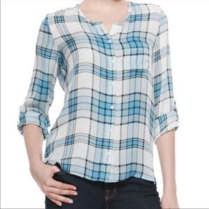 Joie Silk Plaid Button Down top